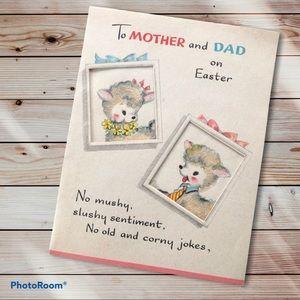 Vintage Easter greeting card hallmark lambs